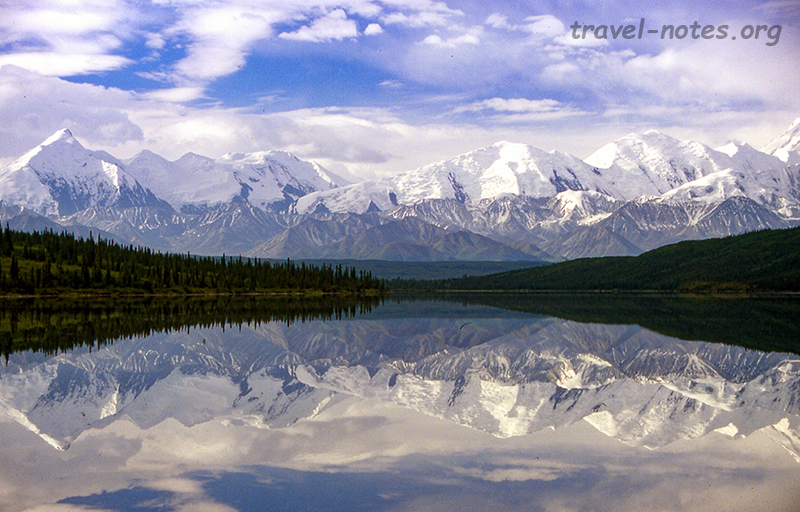 Reflection of Alaskan range on wonder lake